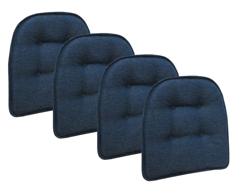 Klear Vu Omega Gripper Tufted Furniture Safe Non-Slip Dining Chair Cushion, 4 Pack, Indigo