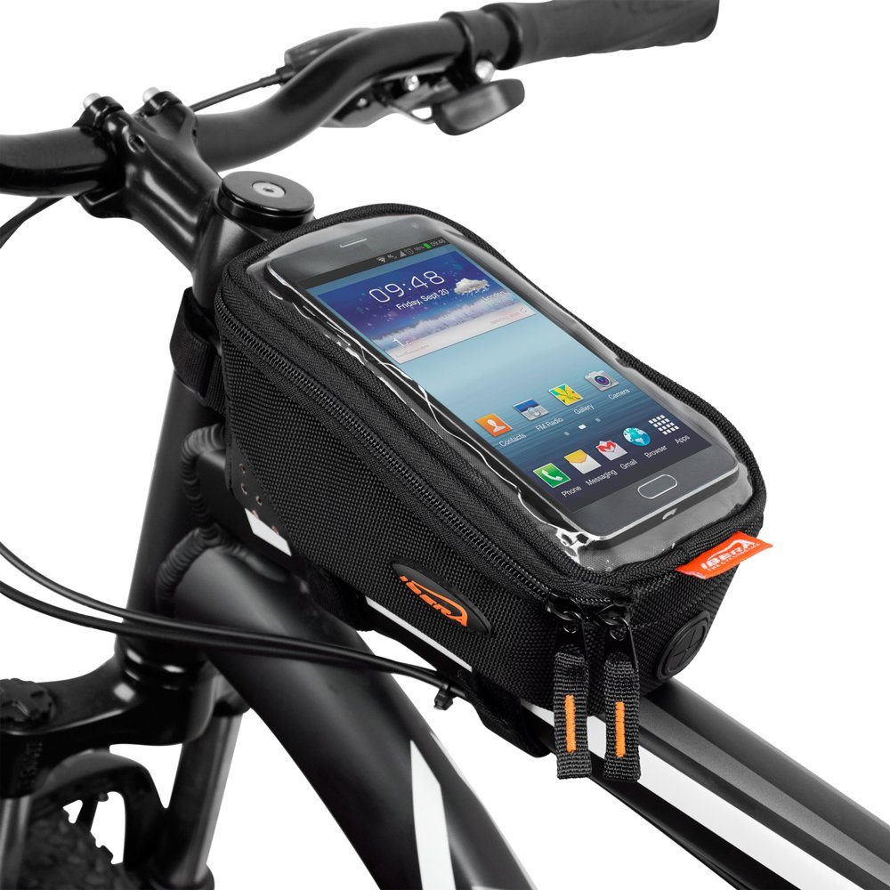 Ibera Bicycle Top Tube Phone Bag for 5'' - 6'' Screen Size, Bike Frame Strap Attachment Mount