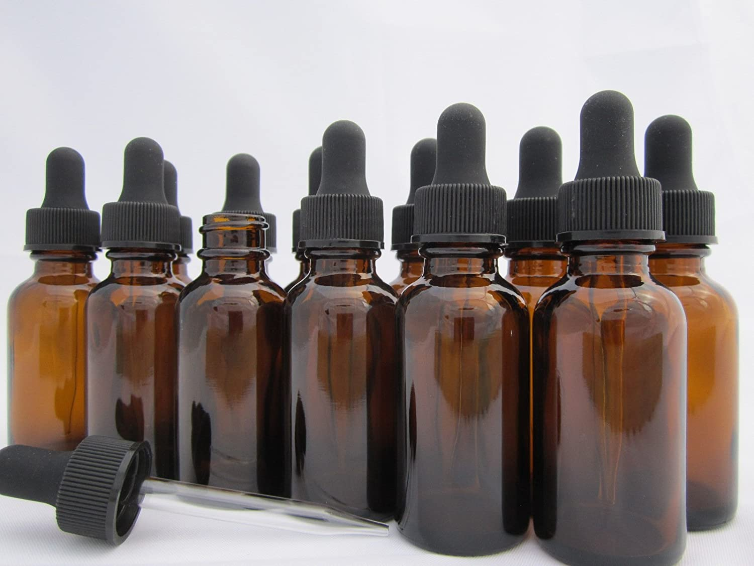 DropperStop 1oz Amber Glass Dropper Bottles (30mL) with Tapered Glass Droppers - Pack of 12