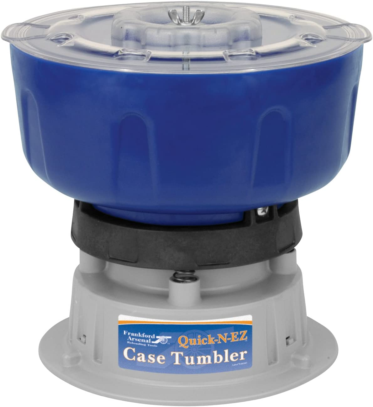 Frankford Arsenal Quick-N-EZ Case Tumbler with 220 Volt Motor and International Plug in for Brass Cleaning and Reloading