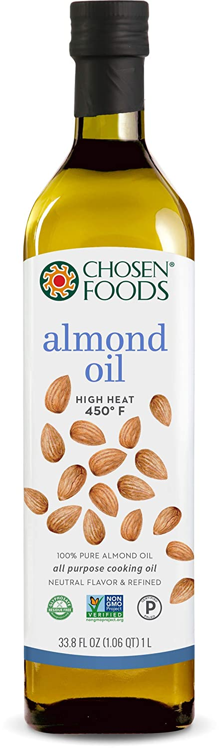 Chosen Foods Almond Oil 1 L, Food Grade, Refined with Neutral Flavor, Non-GMO for High-Heat Cooking, Baking and Frying, 450°F Smoke Point