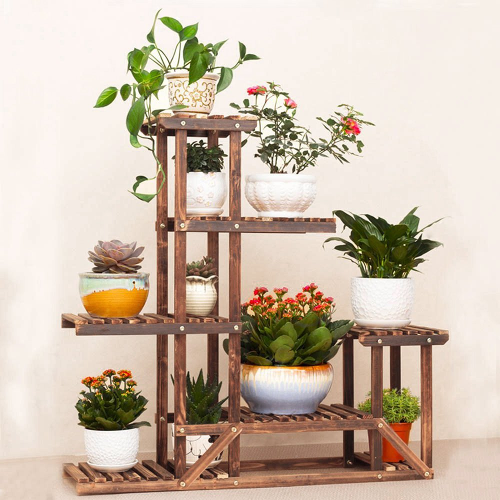 Wooden Flower Stands,UNHO Plant Stand Six-Tiered Planter Display Indoor Outdoor Rack for Yard Decor Sturdy Construction by UNHO