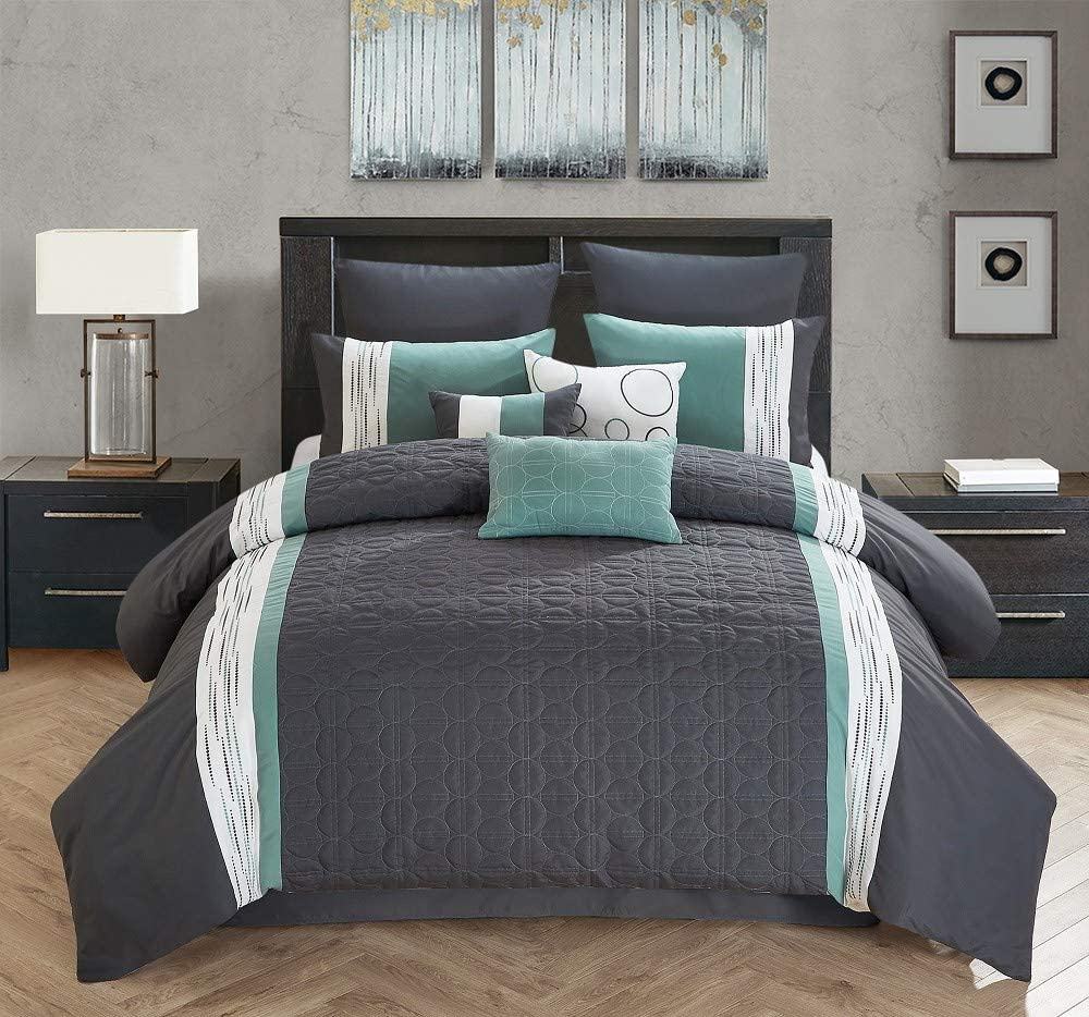 All American Collection New 7 Piece Embroidered Over Sized Comforter Set Cal King Dark Grey Teal Home Kitchen
