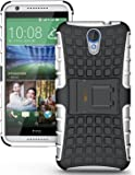 Heartly Flip Kick Stand Spider Hard Dual Rugged Armor Hybrid Bumper Back Case Cover For HTC Desire 620 620G 820 Mini Dual Sim - Best White
