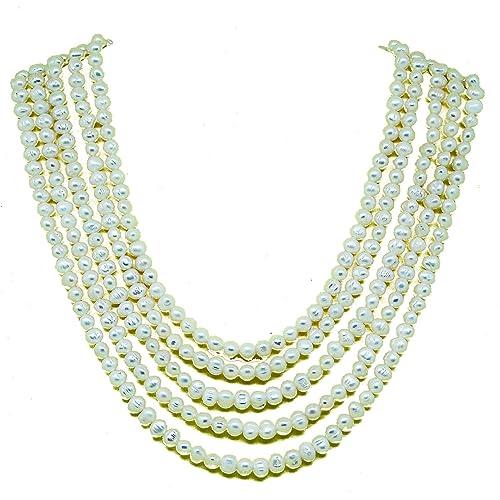 d728eab6c1d4 El Coral Collar Perlas Blancas Anilladas Barrocas 7mm con 5 Tiras  Escaladas  Amazon.es  Joyería