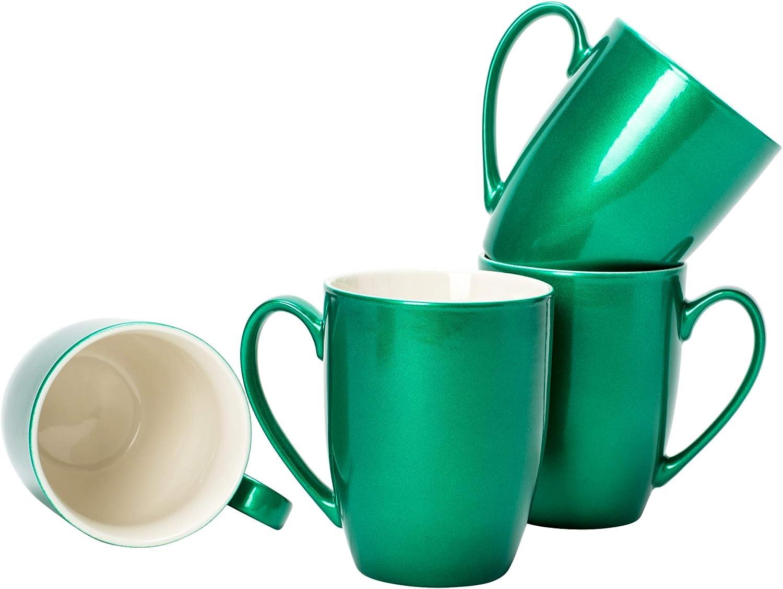 Emerald Green Glossy Finish 10 ounce New Bone China Coffee Cup Mugs Set of 4
