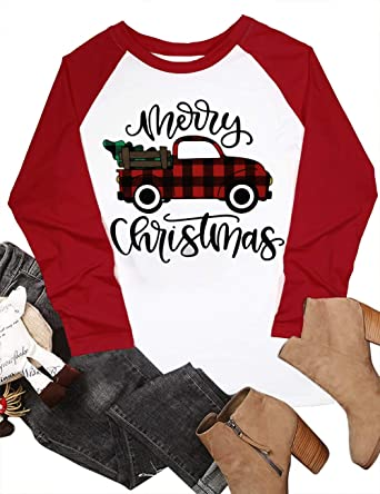 Amazon.com  Merry Christmas Baseball T Shirts Women Christmas Long Sleeve  Raglan Shirt Christmas Plaid Truck Tree Graphic Splicing Top  Clothing f8d62ba3e