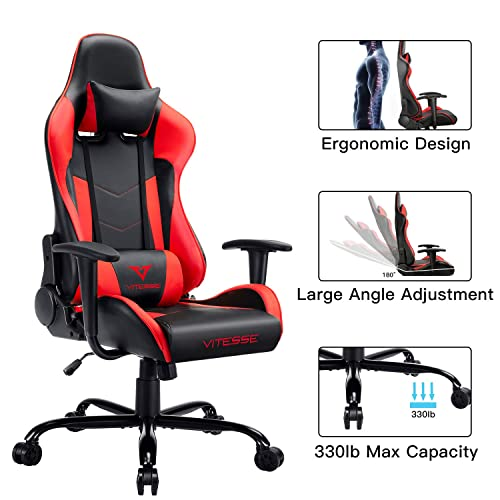 VIT Computer Gaming Chair Racing Style High-Back PC Chair Ergonomic Office Desk Chair Swivel E-Sports Leather Chair with Lumbar Support and Headrest Red
