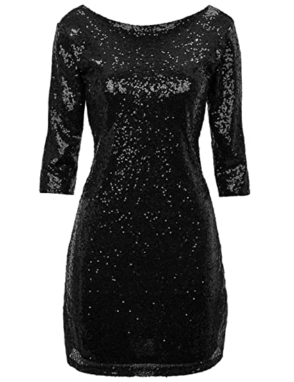 59880e9bb6 Regna X Women Sexy Deep V Sequin Glitter Bodycon Stretchy Mini Party Dress  (We Have Plus Sizes)