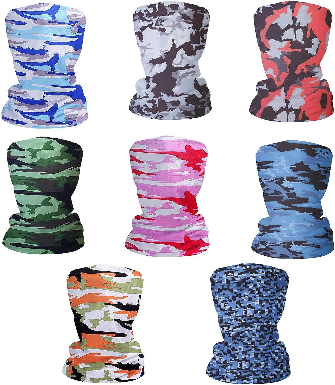 Fashion Face Dust Mask (8 PCS) Bandanas Sports & Casual Headwear Seamless Neck Gaiter, Headwrap, Balaclava, Helmet Liner