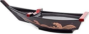 """ASIAN HOME Japanese Sashimi Sushi Boat Plate Detachable Serving Tray For Restaurant Home Dining Decorative Dinnerware Party Hosting Display Boat 19"""""""
