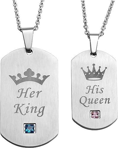 Punk Su reina y su rey De acero inoxidable Collar de pareja Cadena de cuentas