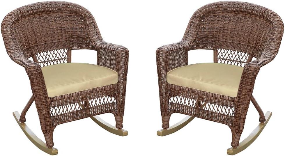 Jeco Rocker Wicker Chair with Tan Cushion, Set of 2, Espresso: Furniture & Decor