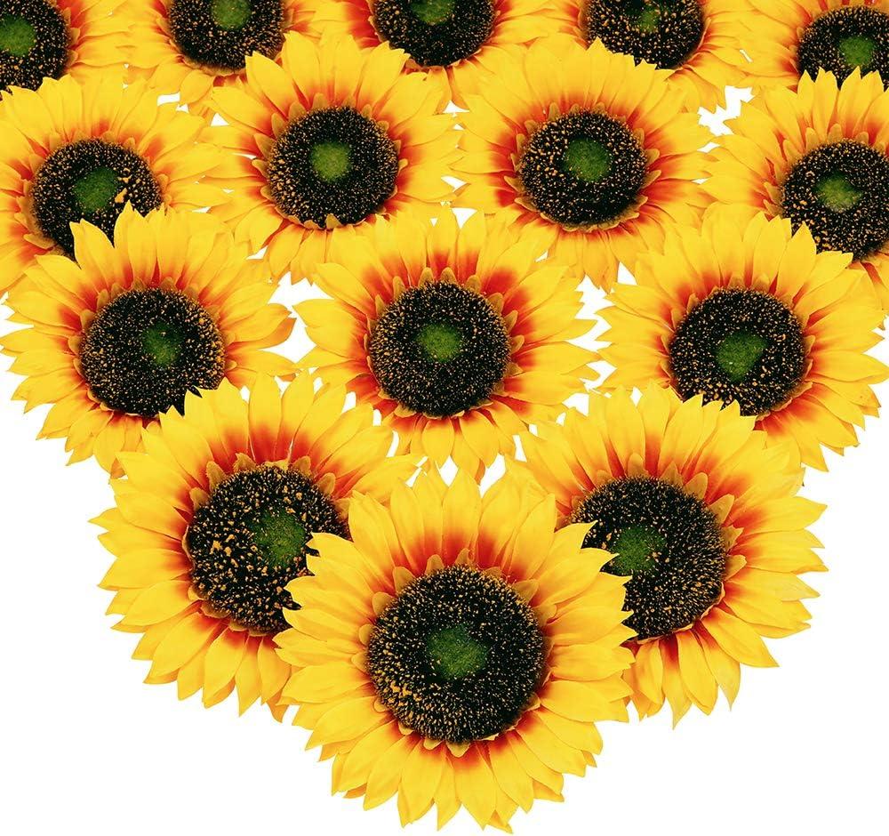 3 Heads Artificial Silk  Yellow Sunflower Fake Flores Bouquet Wedding Decor