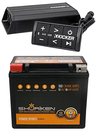 KICKER 42PXIBT1002 200w 2-Channel Bluetooth Amplifier+Controller ATV/UTV+Battery
