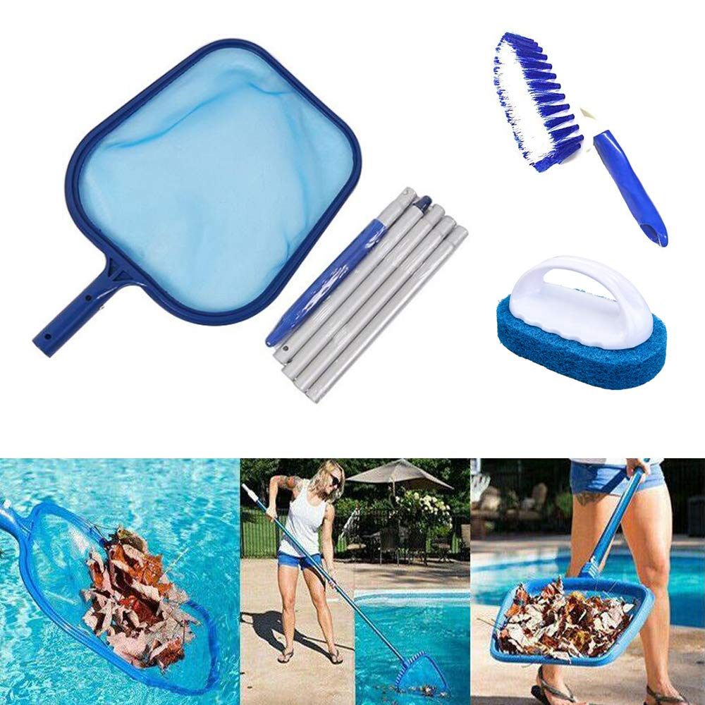 Garden Pond ECHG Pool Leaf Skimmer Fine Mesh Skimming Pool Net with 5-Section Aluminum Pole for Cleaning Swimming Pool Hot Tub and Spa
