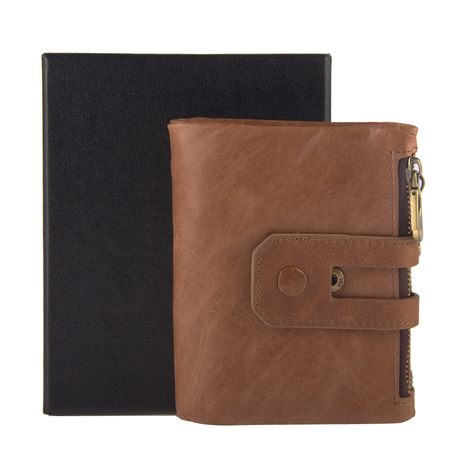 Mens RFID Blocking Wallet, Betiteto Genuine Leather Bifold Wallet Travel Short Purse Card Holder Coin Pocket Newest Designed with Gift Box (Coffee)