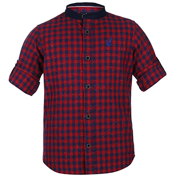 ba3b3002764 Urban Scottish Boys Red Checkered Formal Shirt  Amazon.in  Clothing    Accessories