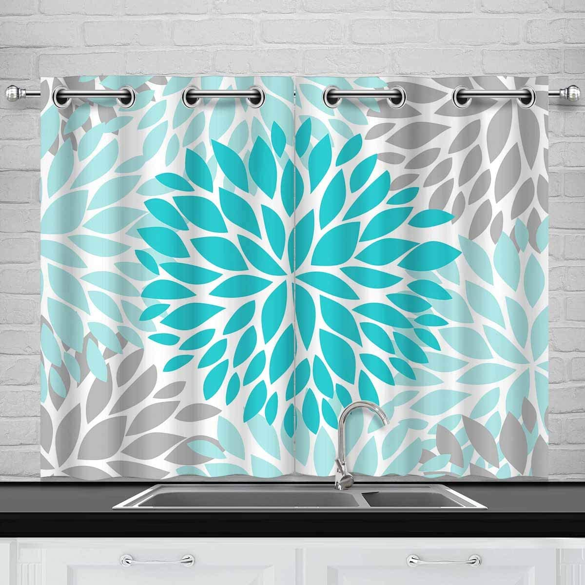 InterestPrint Dahlia Pinnata Flower Turquoise Blue and Gray Blackout Window Curtain Panels Thermal Insulated Window Curtain for Living Room Bedroom, 30 x 45 Length, 2 Pcs