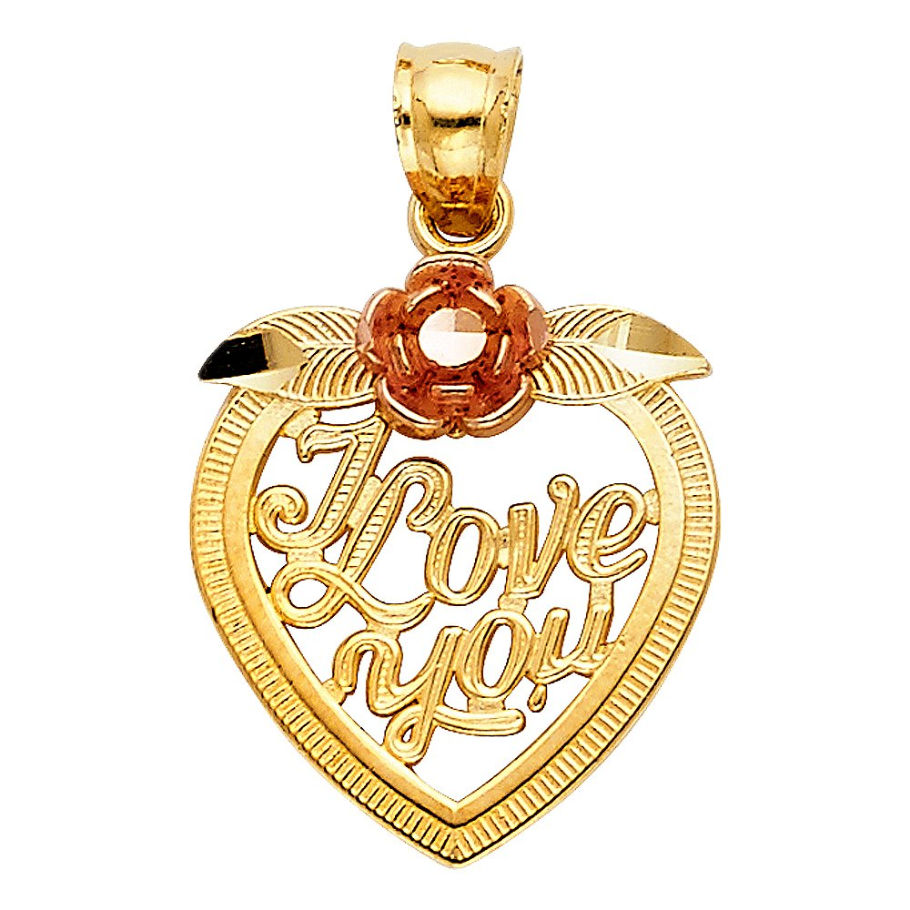 Million Charms 14k Two-tone Gold Heart Charm Pendant 22mm x 16mm I love You with Leaves and Rose Flower