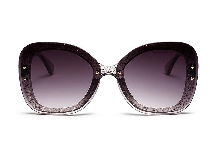 1cc084bda8dd Allt Retro Oversized transparent Multi Tinted Glitter Womens Butterfly Sun  Glasses (Grey Gradient)