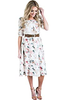 87030c83ce76 Mikarose Layla Modest Dress in Mint w Floral Print at Amazon Women s ...