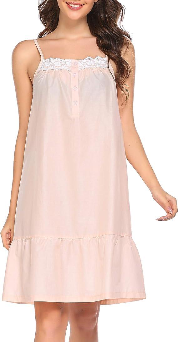 Vintage Nightgowns, Pajamas, Baby Dolls, Robes Ekouaer Sleepwear Sleeveless Nightgown Cotton Sleep Dress Victorian Sleepshirt Strap Gown for Women S-XXL $23.99 AT vintagedancer.com