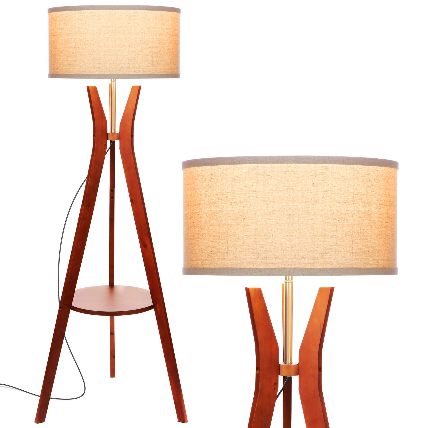 Brightech Charlotte: Rustic Shelf LED Floor Lamp - Tripod Standing Light for Mid Century Modern Living Rooms & Bedrooms - Contemporary, Tall Office Lamp - Drum Shade - Includes LED Bulb - Havana Brown