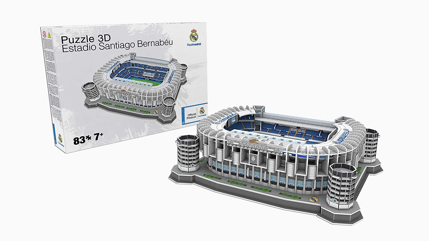REAL MADRID- Nanostad, Puzzle 3D Estadio Santiago Bernabéu Standard (34451), (Kick Off Games 1)