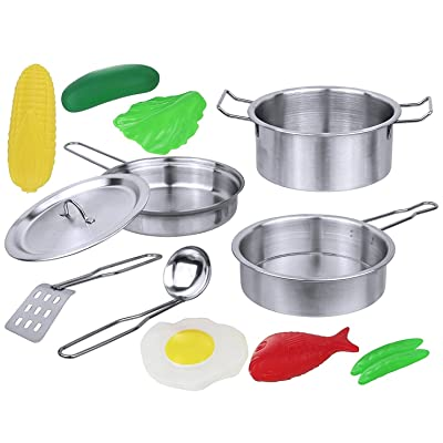 Click N' Play 12 Piece Mini Stainless Steel Pots and Pans Cookware Pretend Playset with Play Food: Toys & Games