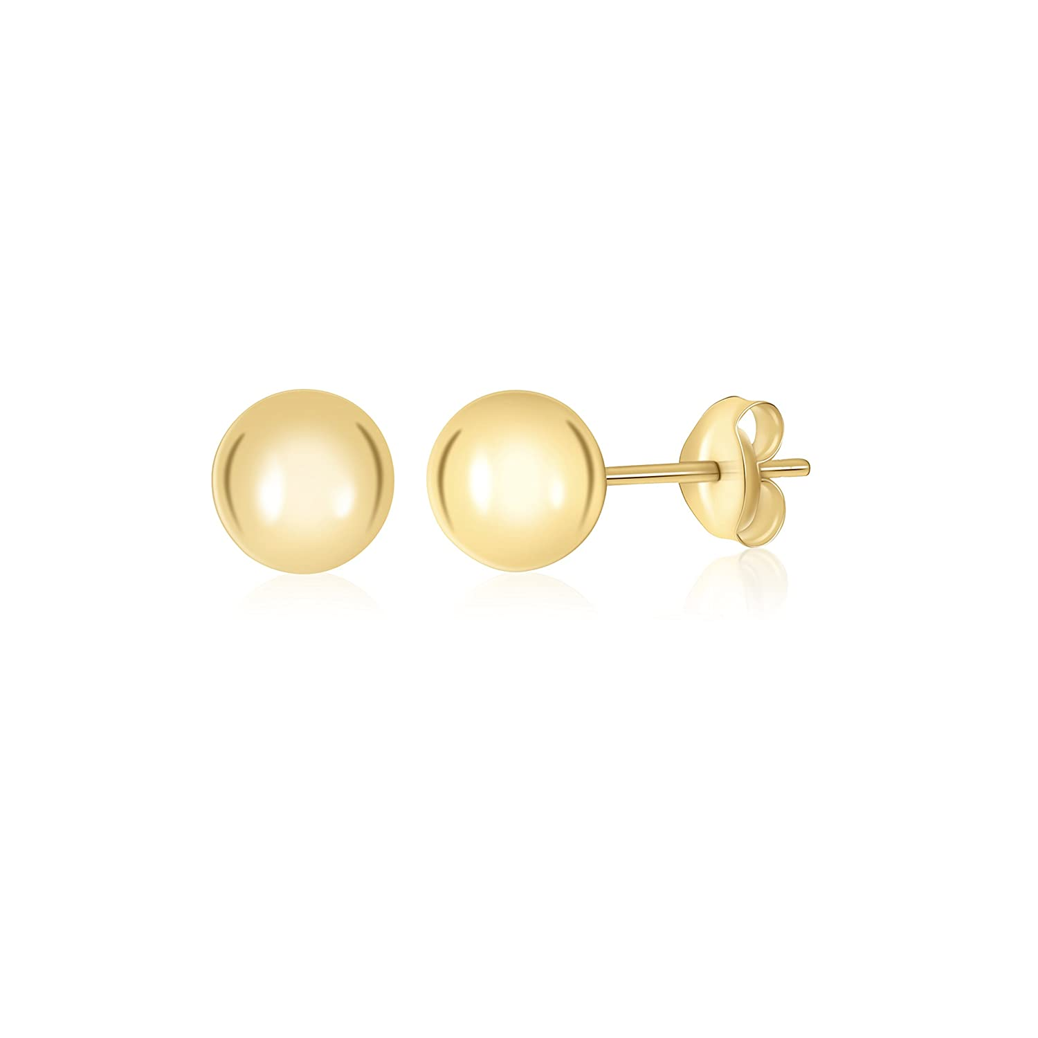 Gold High Polished Shiny Round Ball Post Stud Earrings Massete ZSBJ-1020-LW05-10R