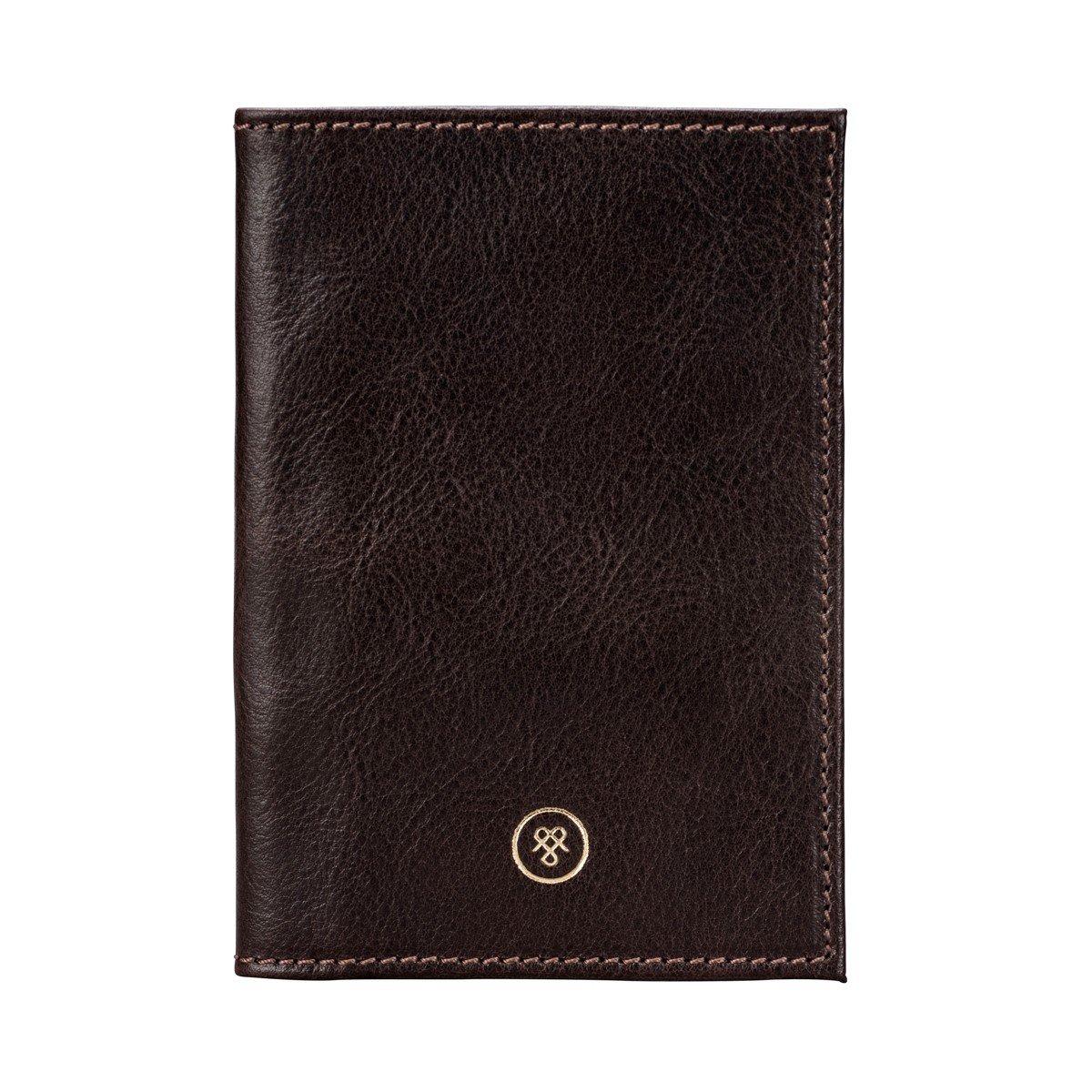 Maxwell Scott Personalized Brown Italian Leather Passport Cover (Prato)