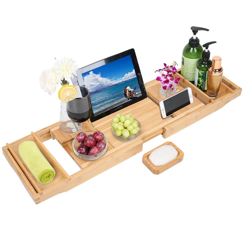 TDYNASTY DESIGN Bathtub Caddy Tray,Bamboo Wood Luxury Bath Rack Shower Organizer Tablet Holder,Cellphone Tray,Wine Glass Slots,Non-Slip Grip Soap Holder