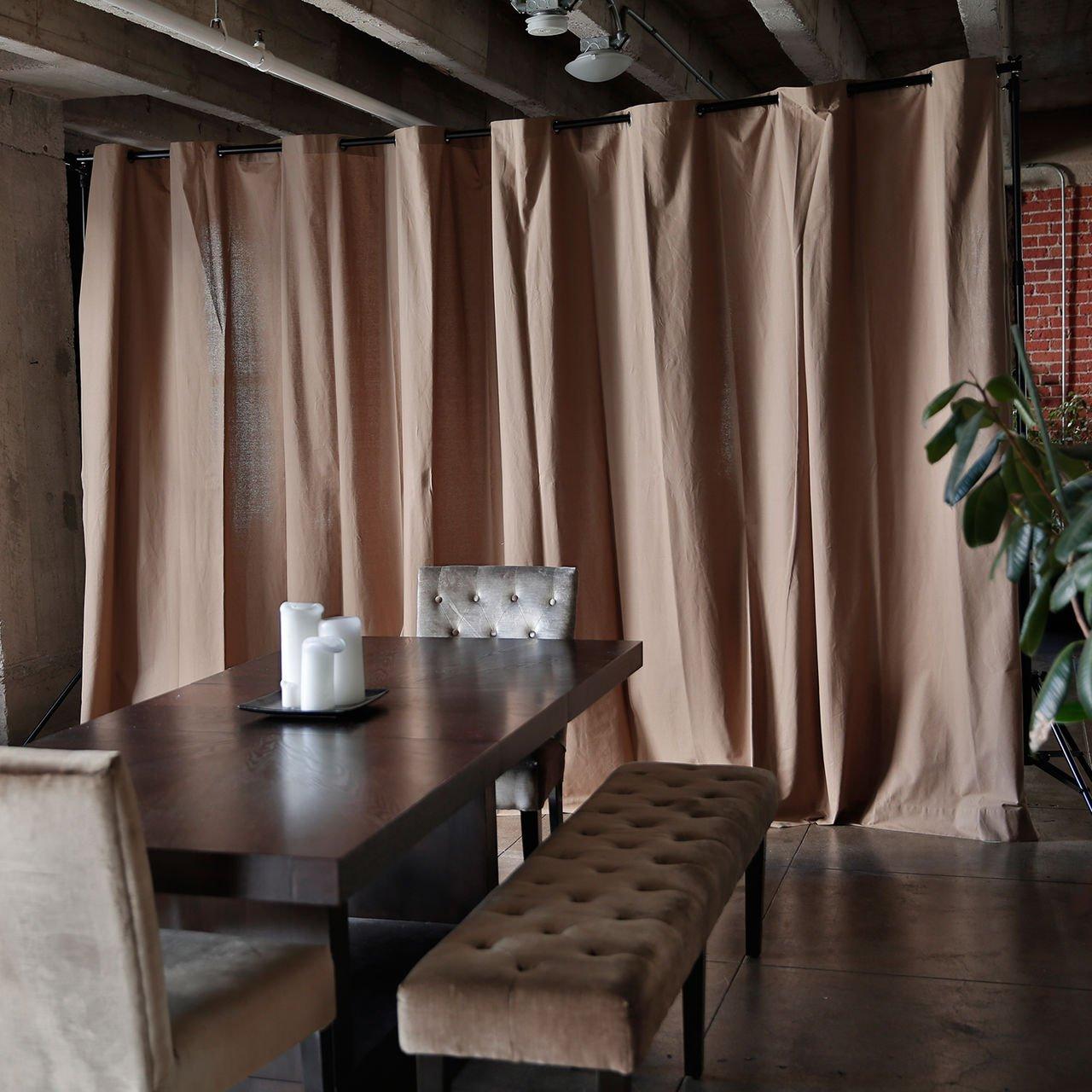 RoomDividersNow Muslin Freestanding Room Divider Kit - Medium B, 9ft Tall x 12ft 6in - 25ft Wide (Khaki)