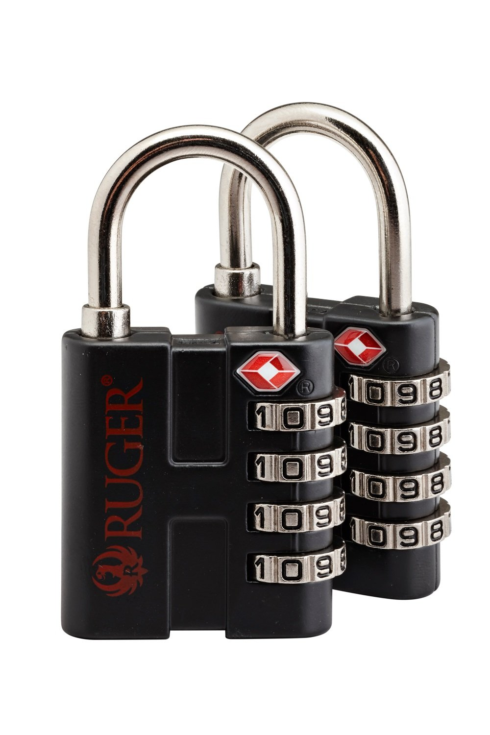 SnapSafe Ruger TSA Approved 4 Digit ''Thick Shackle'' Firearm Cases Luggage Backpacks Computer Bags Combination Padlock (2 Pack)