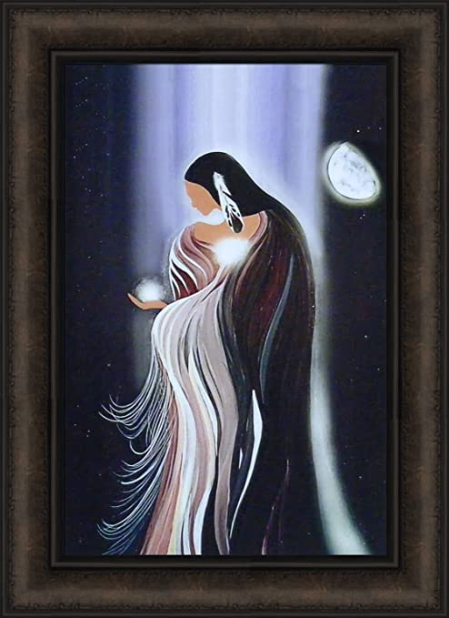 WHITE STAR WOMAN by Betty Albert 16x22 FRAMED ART Native American Indian PICTURE