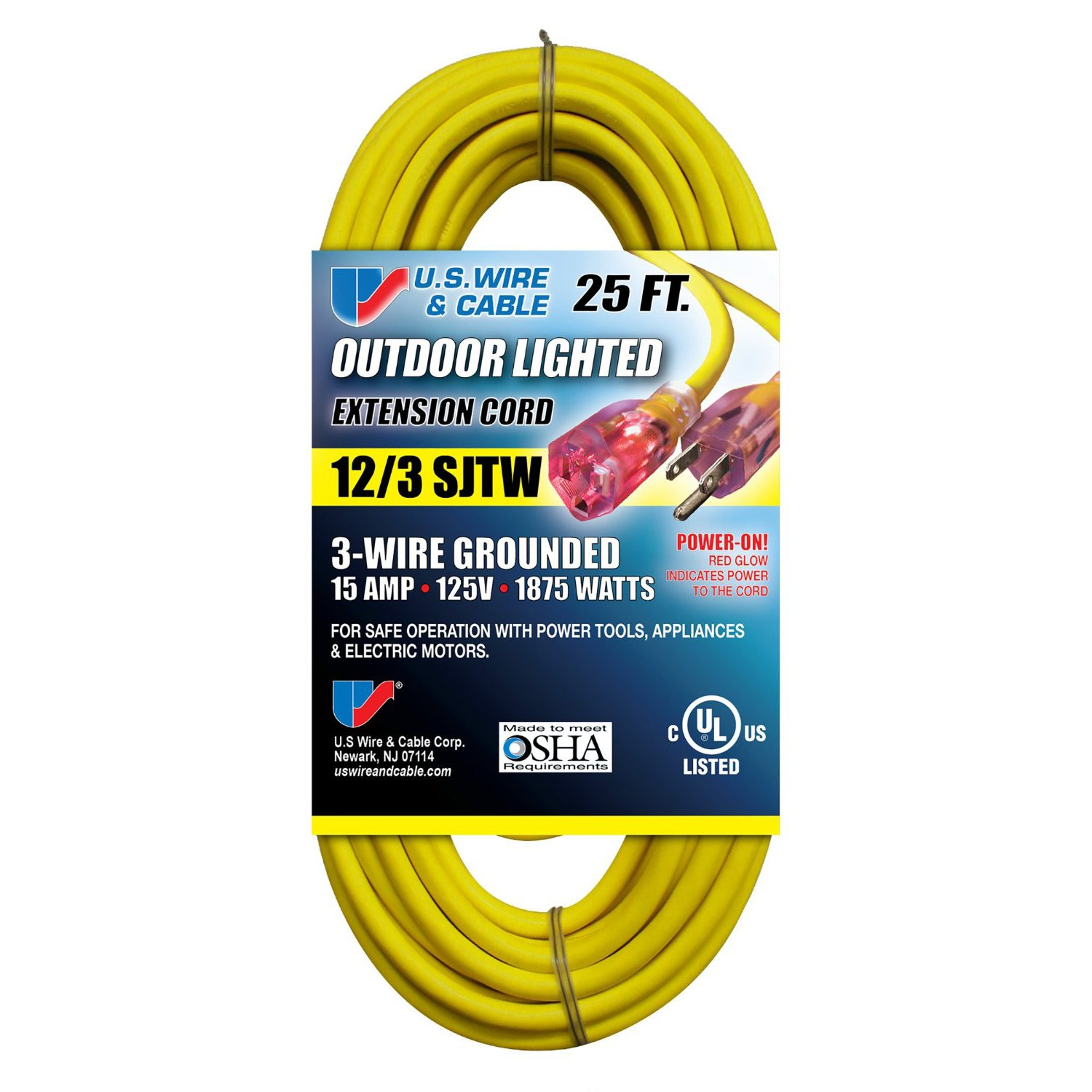 Us Wire 74025 12 3 25 Foot Sjtw Yellow Heavy Duty Lighted Plug Wiring Money Meaning Extension Cord