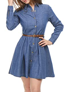 15ff50db931 Allegra K Women s Long-Sleeves Belted Flared Above Knee Denim Shirt Dress