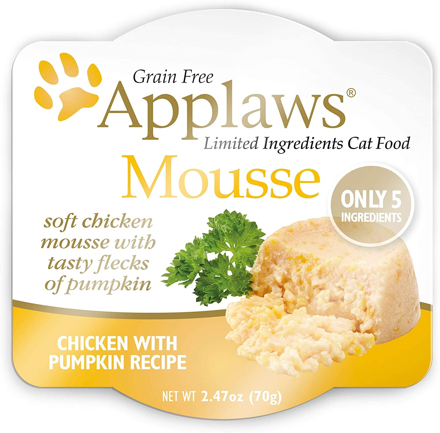 Applaws Mousse Wet Cat Food, Grain Free, Only 5 Ingredients, 2.5oz. (12 Pack)