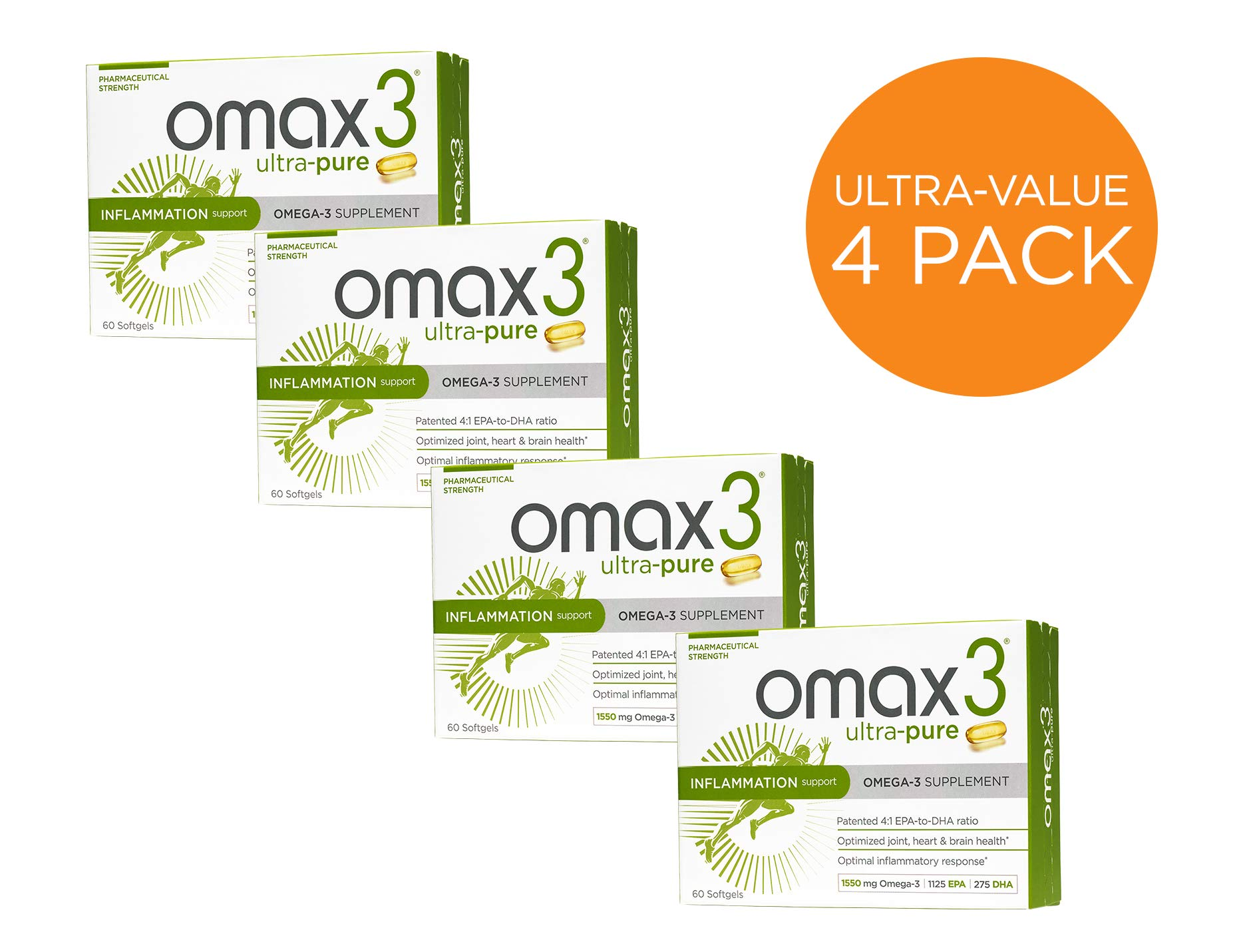 Omax3 Ultra Pure Omega 3 Fish Oil Supplements - 4 Boxes (240 Softgels)