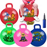 2 Pack Jump Hopper Bouncy Hopping Ball 18 inch with Handle Party Favors for Kids 3-6 Years - School Team Family Ride…