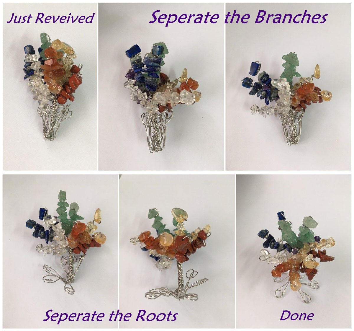 QGEM 7 Chakra Gems Tree of Life SetMoney Tree+ Irregular Chakra Stones+ Chakra Brarcelet Reiki Healing Feng Shui Spiritual Decor Ornaments