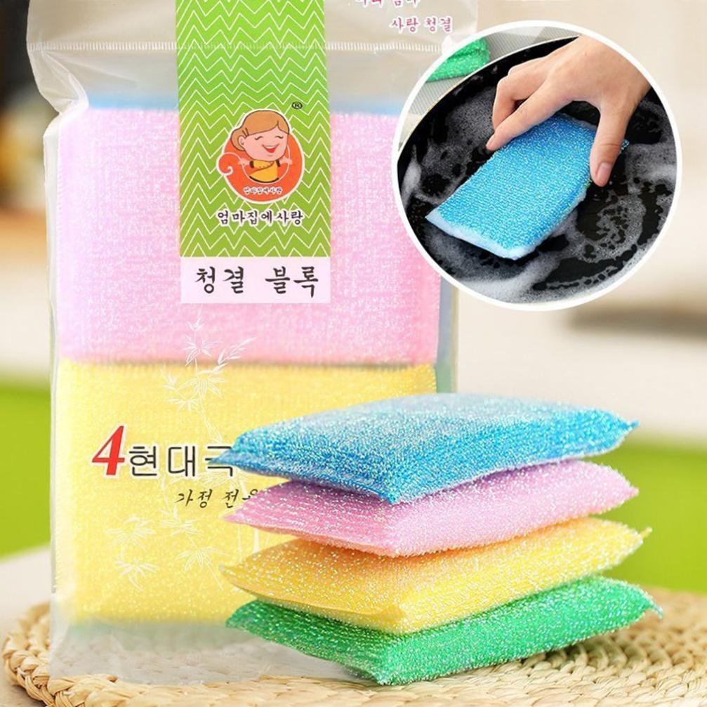 LiPing 4PCS Sponge Dish High Efficient Anti-grease Cloth Kitchen Cloths Cleaning Cloths,3'' x 4.7'',Machine Washable and Ultra Absorbent Kitchen Bar Towels (A)