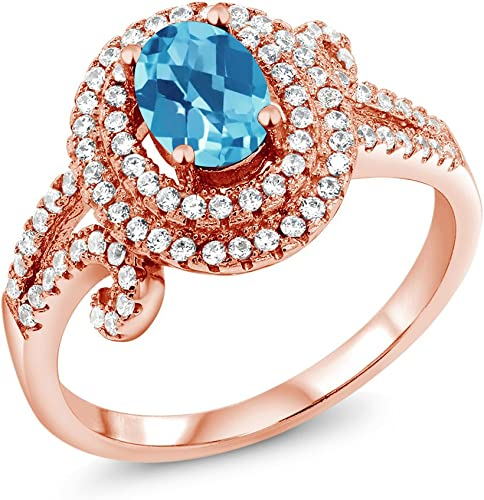 2.20 Ct Round Swiss Blue Topaz 925 Sterling Silver Ring