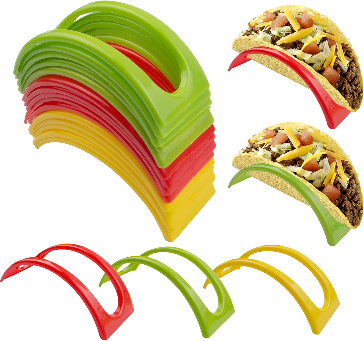 Taco Holder Stand up Set of 24, Colorful Plastic Taco Shell Holder Plate Protector Food Holder, Taco Tray Rack for Taco Tuesday Taco Bar Taco Party Supplies(Red,Yellow,Green)