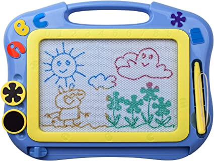 ikidsislands IKS85B Doodle Board for Toddlers Sketch Pad Toy for Little Boys Travel Size Color Magnetic Drawing Board for Kids Blue