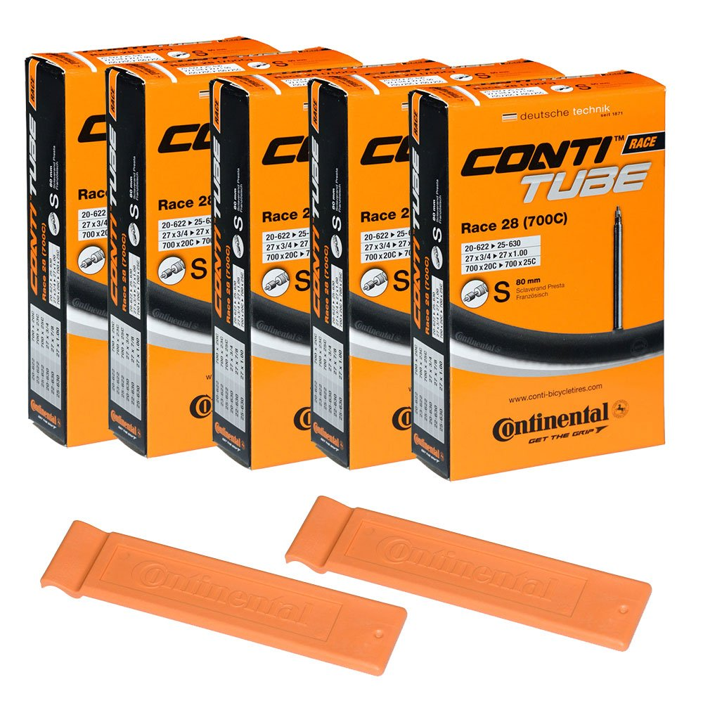 Continental Bicycle Tubes Race 28 700x20-25 S80 Presta Valve 80mm Bike Tube Super Value Bundle (Pack of 5 Conti tubes & 2 Conti Race tire lever)