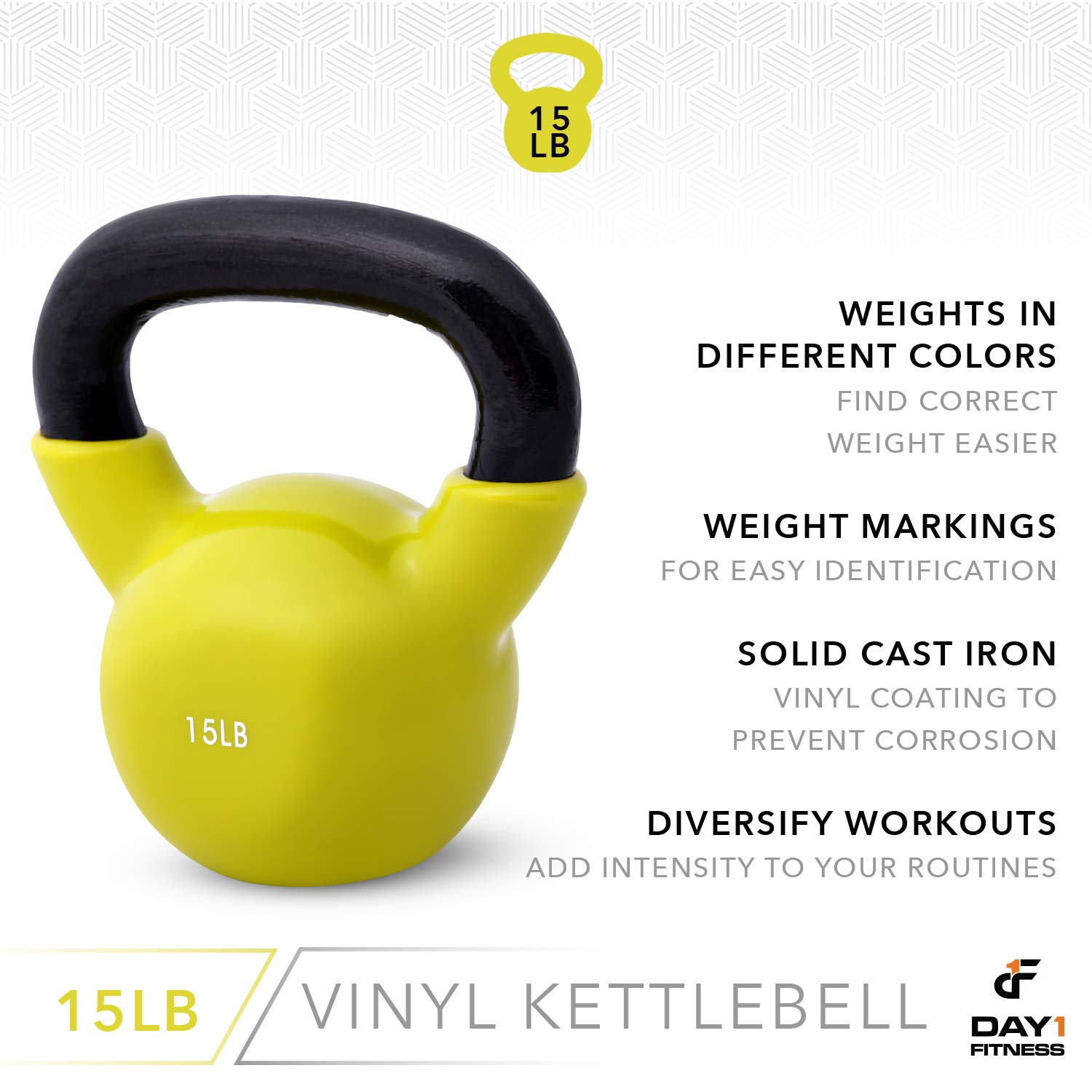 Day 1 Fitness Kettlebell Weights Vinyl Coated Iron 15 Pounds - Coated for Floor and Equipment Protection, Noise Reduction - Free Weights for Ballistic, Core, Weight Training by Day 1 Fitness (Image #5)