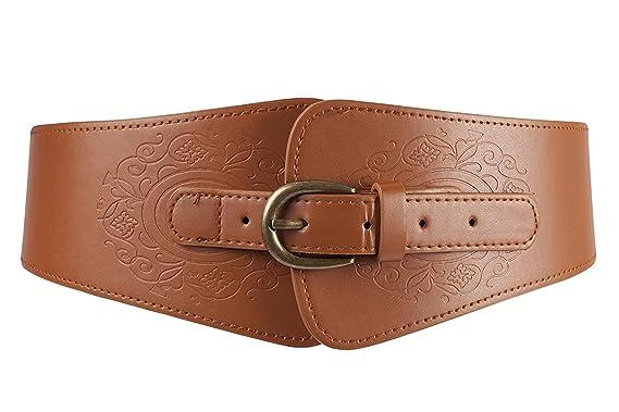 YDT Rétro ceinture de femme élastique avec des bosselures marron ... d3044c2c8d3