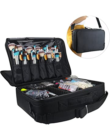 Relavel Professional Makeup Train Case Cosmetic Bag Brush Organizer and  Storage 16.5